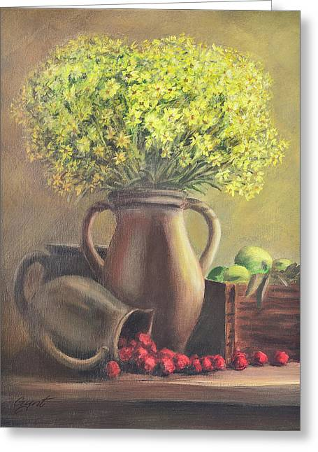 Still Life With Flowers And Fruits Greeting Card by Gynt Art