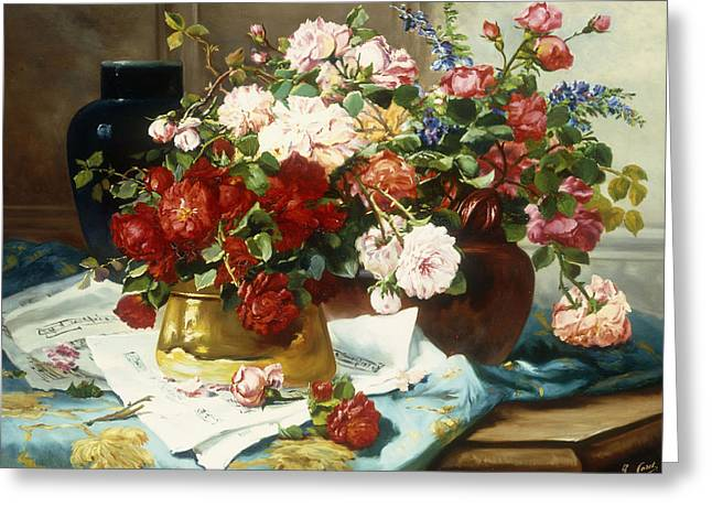 Still-life With Flowers Greeting Cards - Still Life with Flowers and Sheet Music Greeting Card by Jules Etienne Carot
