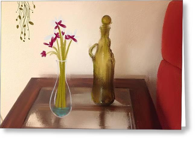 Interior Still Life Mixed Media Greeting Cards - Still Life with Flowers Greeting Card by Dan Twyman