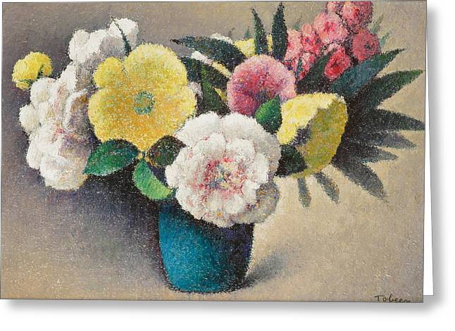 Beauty In Nature Paintings Greeting Cards - Still Life with Flowers Greeting Card by Felix Elie Tobeen