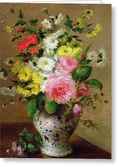 Still Life With Flowers In A Vase Greeting Card by Louise Darru