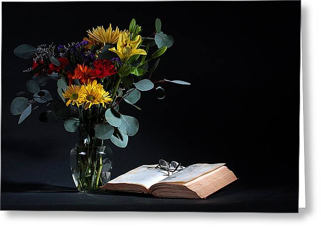 Glass Vase Greeting Cards - Still Life with Flowers Greeting Card by Joe Kozlowski