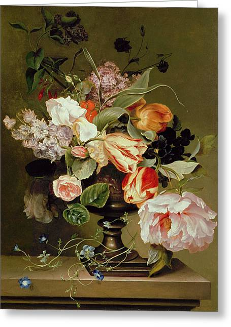 Flower Arrangements Greeting Cards - Still Life With Flowers Oil Greeting Card by Marie Geertruida Snabille