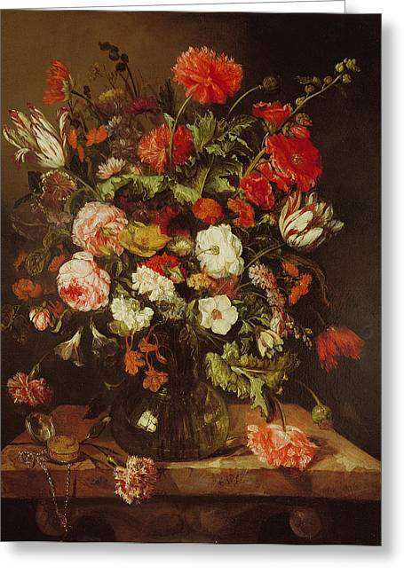 Floral Still Life Greeting Cards - Still Life With Flowers Oil On Canvas Greeting Card by Abraham Hendricksz van Beyeren