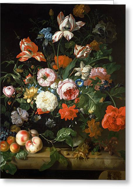 Variegated Greeting Cards - Still Life With Flowers Oil On Canvas Greeting Card by Rachel Ruysch
