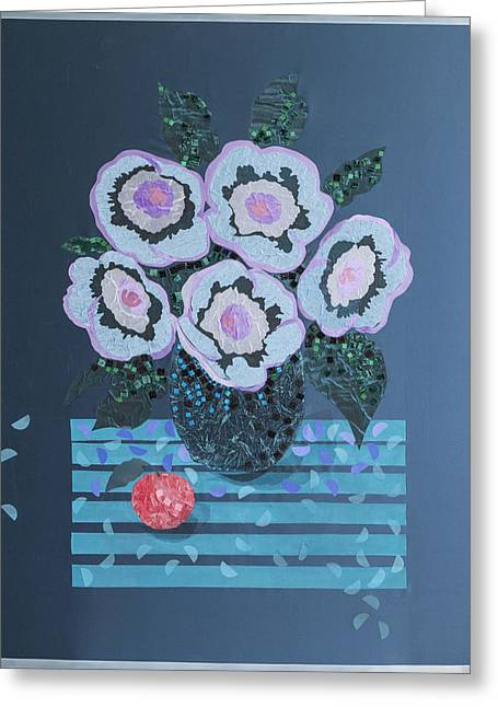 Flower Still Life Tapestries - Textiles Greeting Cards - Still Life with Flowers Greeting Card by Tanya Mayer