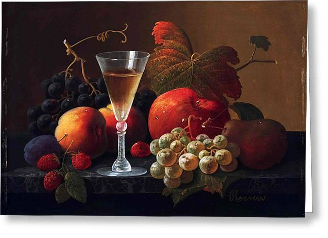 Fruit And Wine Paintings Greeting Cards - Still Life with Fruit and a Wine Glass Greeting Card by Severin Roesen