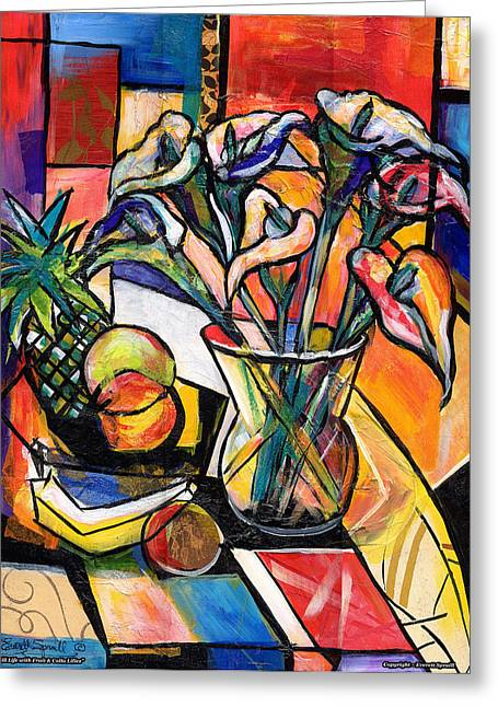 Everett Spruill Mixed Media Greeting Cards - Still Life with Fruit and Calla Lilies Greeting Card by Everett Spruill