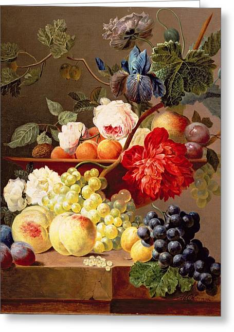 Plum Greeting Cards - Still Life With Fruit And Flowers Greeting Card by Anthony Obermann