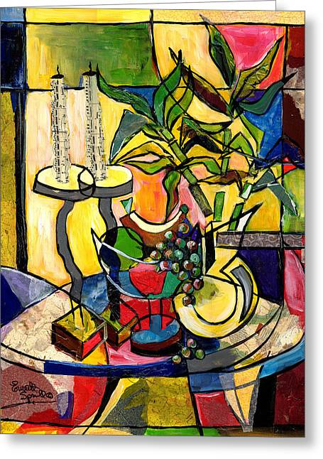 Still Life With Fruit Candles And Bamboo Greeting Card by Everett Spruill