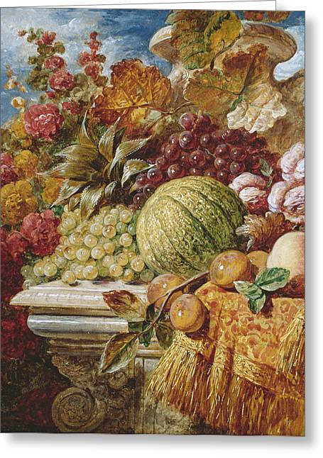 Apricots Paintings Greeting Cards - Still life with fruit Greeting Card by George Lance