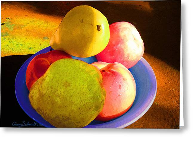 Still Life With Fruit Greeting Card by Ginny Schmidt