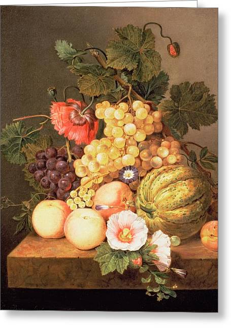 Peach Flower Greeting Cards - Still Life With Fruit Greeting Card by Johannes Cornelis Bruyn