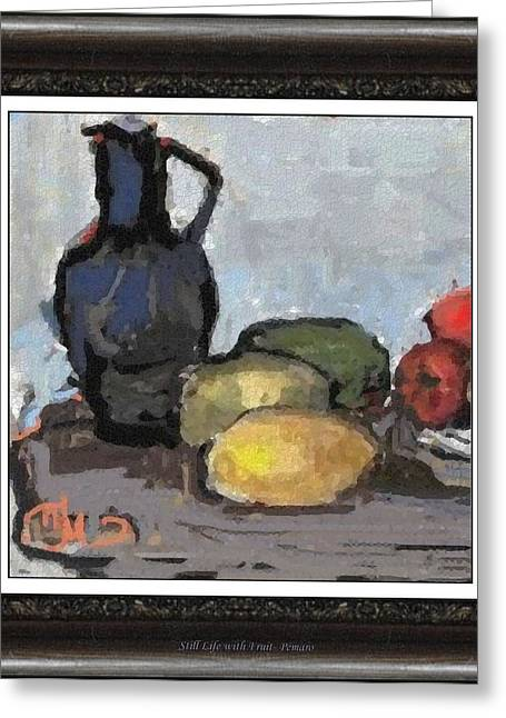 Floral Still Life Greeting Cards - Still Life with Fruit SLWF02 Greeting Card by Pemaro