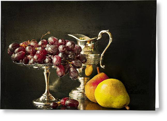 Silver Pitcher Greeting Cards - Still Life With Fruit Greeting Card by Theresa Tahara