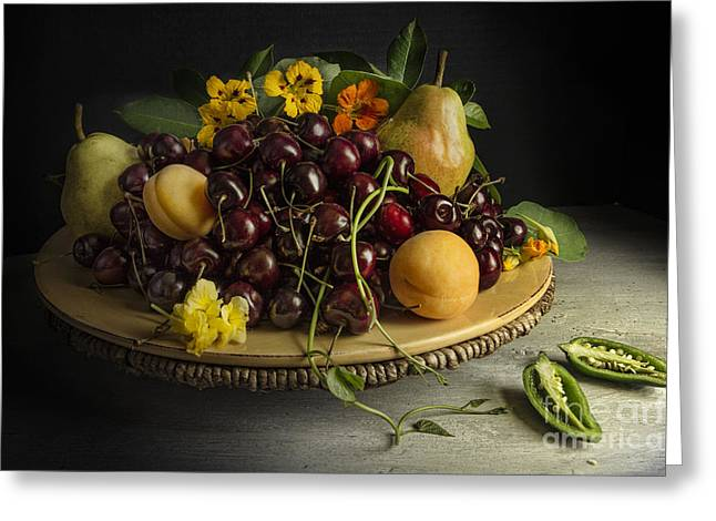 Tabletop Greeting Cards - Still life with fruits and pepper Greeting Card by Elena Nosyreva