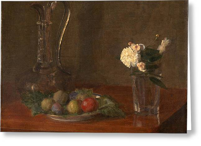 Fruit And Flowers Greeting Cards - Still Life with Glass Jug Fruit and Flowers Greeting Card by Henri Fantin-Latour
