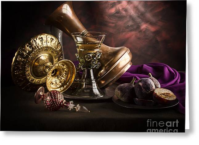 Pewter Jug Greeting Cards - Still Life with Goblet Tazza and Fruit Greeting Card by Jon Wild