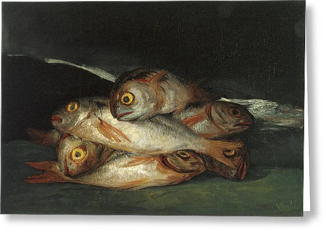 Recently Sold -  - Still Life With Fish Greeting Cards - Still Life with Golden Bream Greeting Card by Francisco De Goya