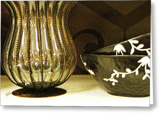 Glass And Metal Art Greeting Cards - Still Life With Golden Vase Greeting Card by Ben and Raisa Gertsberg
