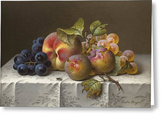 Still-life With Peaches Greeting Cards - Still Life with Grapes and Peaches Greeting Card by Celestial Images