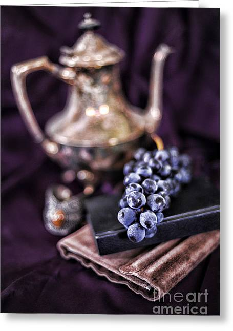 Purple Grapes Greeting Cards - Still Life With Grapes And Silver Teapot Greeting Card by HD Connelly