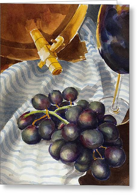 Bunch Of Grapes Paintings Greeting Cards - Still life with grapes Greeting Card by Pablo Rivera