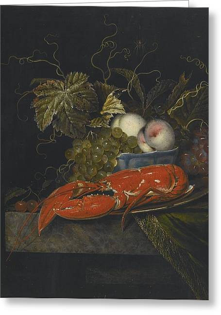 Still-life With Peaches Greeting Cards - Still Life With Grapes Peaches And A Lobster Greeting Card by Celestial Images