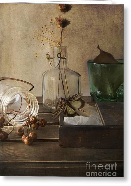 Still Life With Bottle Greeting Cards - Still life with grasshopper Greeting Card by Elena Nosyreva