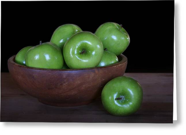 Wooden Bowl Greeting Cards - Still Life with Green Apples Greeting Card by Nikolyn McDonald
