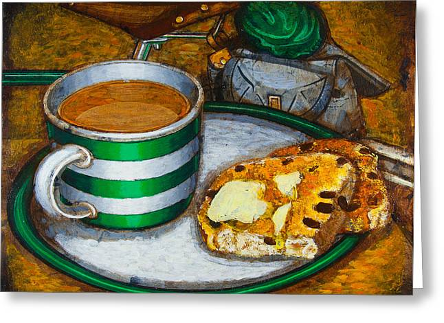 Still life with green touring bike Greeting Card by Mark Howard Jones