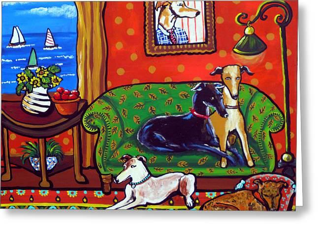 Greyhound Dog Greeting Cards - Still Life With Greyhounds Greeting Card by Renie Britenbucher