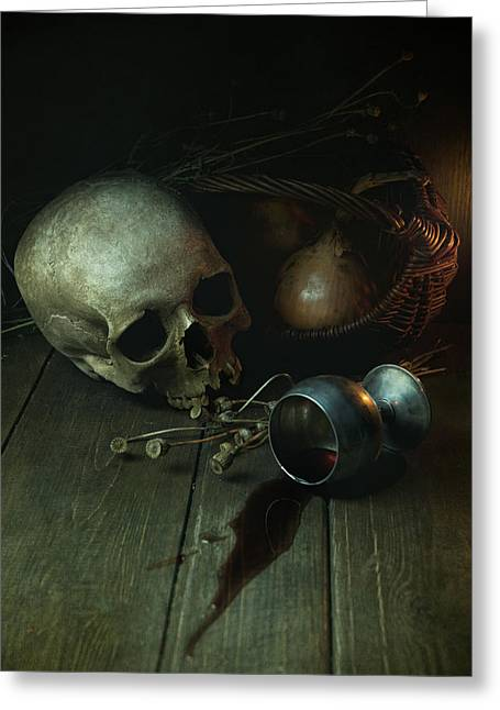 Candle Lit Greeting Cards - Still life with human skull and silver chalice Greeting Card by Jaroslaw Blaminsky