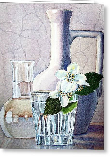 Jasmine Greeting Cards - Still Life With Jasmine Greeting Card by Irina Sztukowski