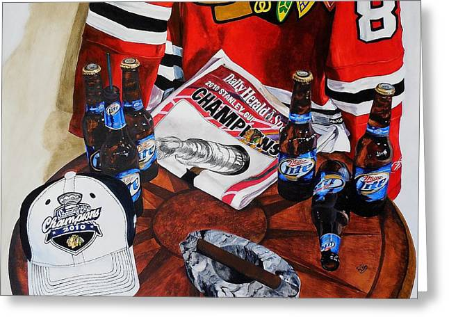 Hockey Paintings Greeting Cards - Still life with Jersey Greeting Card by Raymond Perez