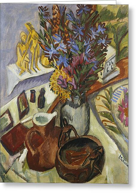 Interior Still Life Paintings Greeting Cards - Still Life with Jug and African Bowl Greeting Card by Ernst Ludwig Kirchner