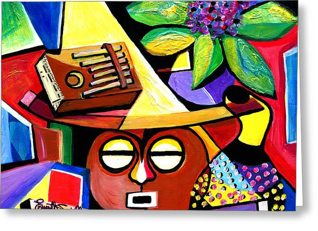 African-american Institute Greeting Cards - Still Life with Kalimba and African Violets Greeting Card by Everett Spruill