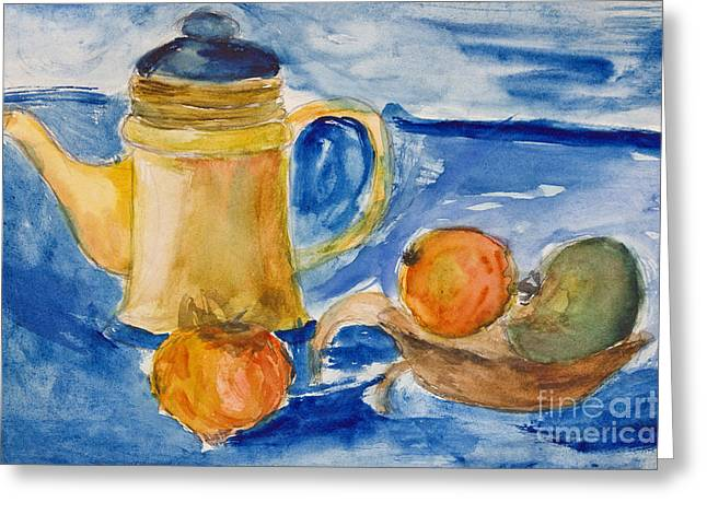 Pitcher Drawings Greeting Cards - Still life with kettle and apples aquarelle Greeting Card by Kiril Stanchev