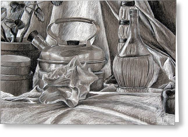 Chianti Bottle Greeting Cards - Still Life With Kettle and Wine Bottle Greeting Card by Michelle Bien