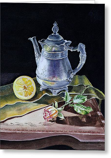 Lemon Art Greeting Cards - Still Life With Lemon And Rose Greeting Card by Irina Sztukowski