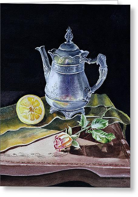 Dark Wood Table Greeting Cards - Still Life With Lemon And Rose Greeting Card by Irina Sztukowski