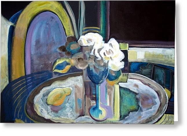 STILL LIFE WITH LEMON AND TWO WHITE ROSES Greeting Card by Therese AbouNader