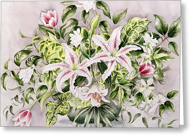 In Bloom Greeting Cards - Still life with Lilies Greeting Card by Alison Cooper