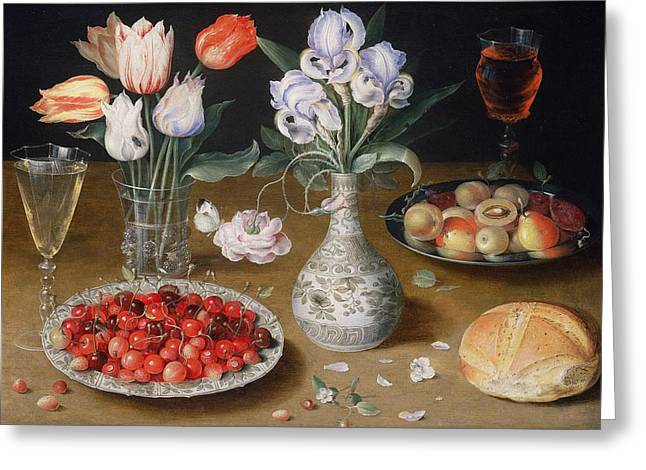 Apricot Photographs Greeting Cards - Still Life With Lilies, Roses, Tulips, Cherries And Wild Strawberries Oil On Panel Greeting Card by Osias the Elder Beert