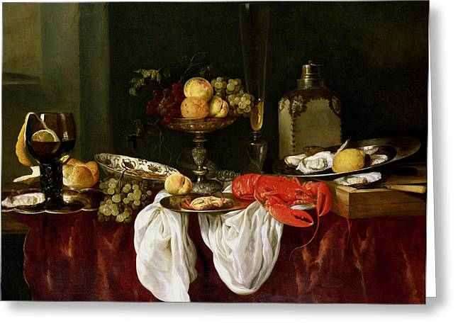Goblet Greeting Cards - Still Life With Lobster Oil On Canvas Greeting Card by Abraham Hendricksz van Beyeren