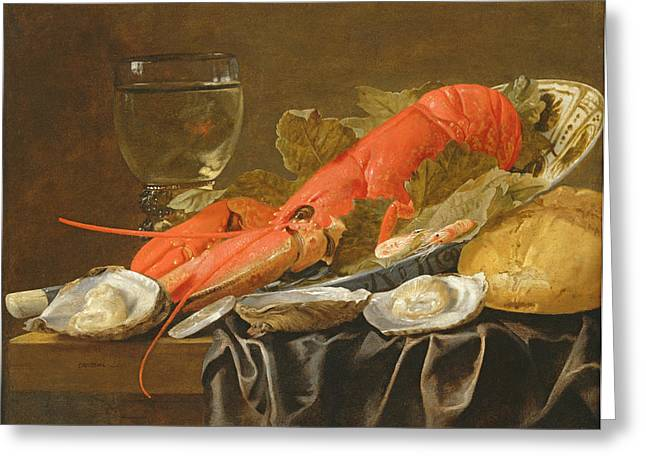 Goblet Greeting Cards - Still Life With Lobster, Shrimp, Roemer, Oysters And Bread Oil On Copper Greeting Card by Christiaan Luykx or Luycks