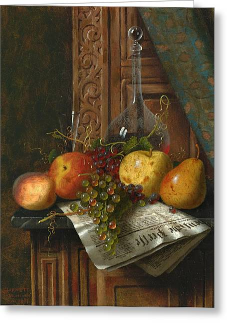 Decanters Paintings Greeting Cards - Still Life with Munich Newspaper Fruit and Decanter Greeting Card by William Michael Harnett