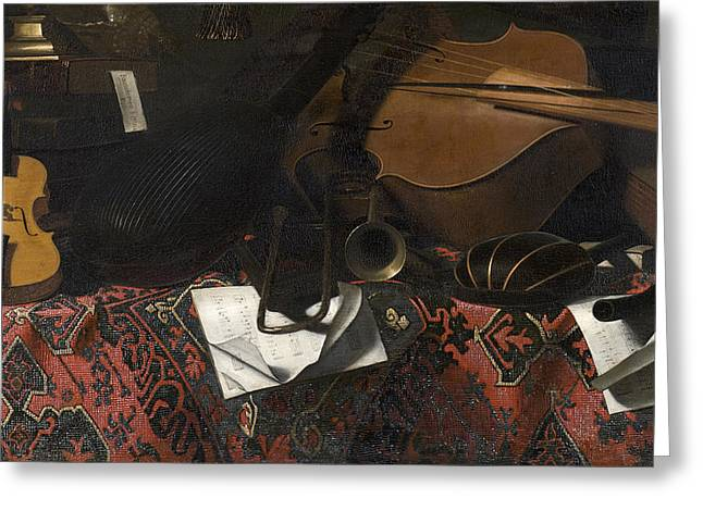 1680 Greeting Cards - Still Life with Musical Instruments Greeting Card by Celestial Images