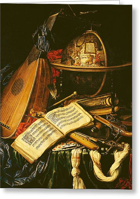 Playing Cards Photographs Greeting Cards - Still Life With Musical Instruments Oil On Canvas Greeting Card by Flemish School