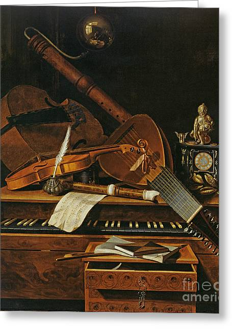 Lute Greeting Cards - Still life with musical instruments Greeting Card by Pieter Gerritsz van Roestraten